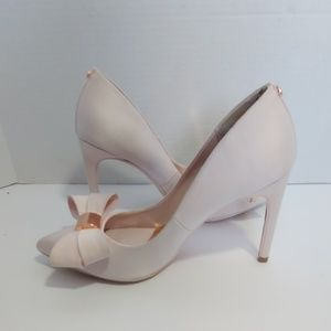 Ted Baker pink satin bow heels